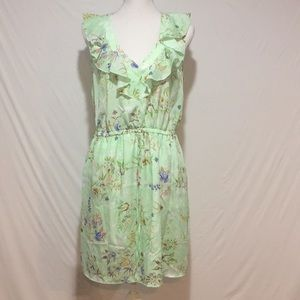 BeBop Floral Elastic Waist Green Dress.